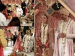 திருமணத்தின் போது சிவப்பு நிற லெஹெங்காவில் ஜொலித்த காஜல் அகர்வால்!