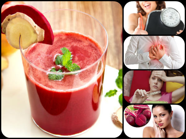 Benefits of  drinking beetroot juice with ginger and lemon juice