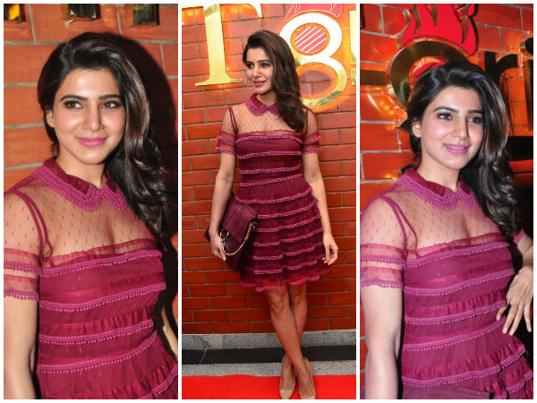 Actress Samantha In Red Valentino Dress At A Restaurant Launch
