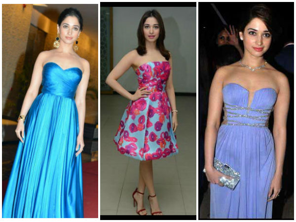 Tamanna Bhatia's Strapless Dress Looks