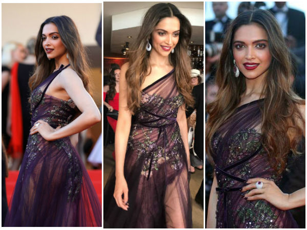 Deepika Padukone Looks Exquisite In Wine Sheer Gown At The Red Carpet Of Cannes 2017
