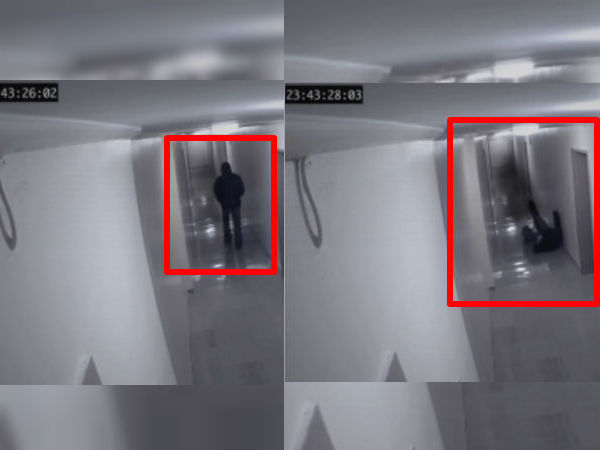 CCTV Captures A Strange Figure Attacking A Man In Hotel Corridor