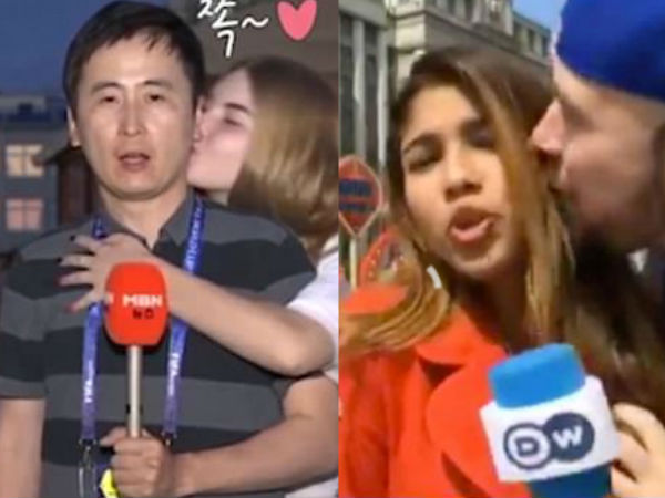 Russian Models Kissed South Korean Reporter in Live!