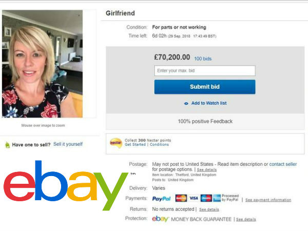 A man who put his girlfriend on eBay and the plan backfired him
