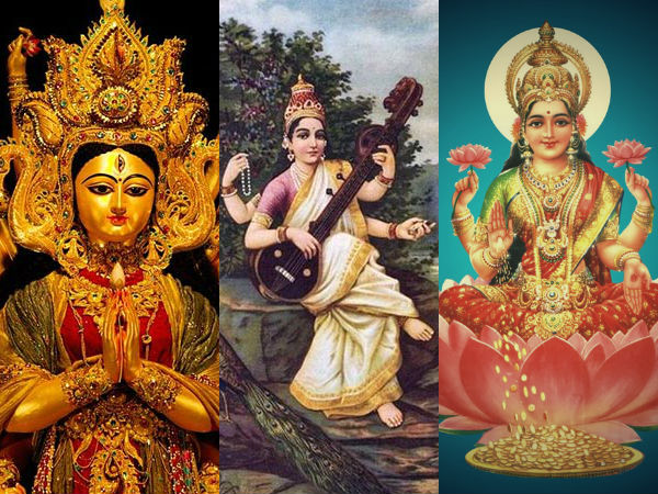 are lakshmi and saraswati daughters of goddess durga?