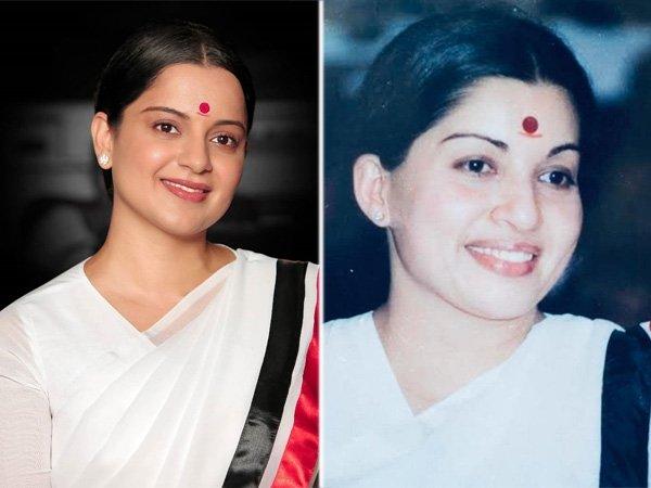 மறைந்த முன்னாள் முதல்வர் ஜெயலலிதாவின் தோற்றத்தில் கங்கனா ரனாவத்!