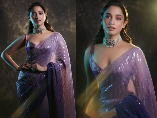 Actress Tamannaah Bhatia Looks Glamorous In Purple Saree