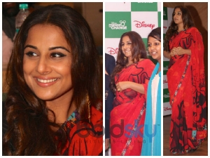 Vidya Balan Looks Red Hot Satya Paul Saree
