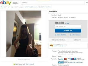 A Man Uk Has Put His Wife Up Sale On Online Shopping Store Ebay