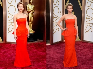 Oscars 2014 Jennifer Lawrence Red Dior Gown
