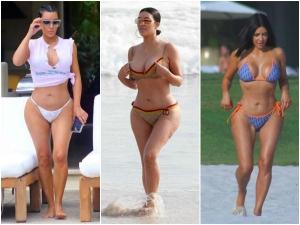 Kim Flaunts Curvy Booty In Sleek Bikinis In Mexico