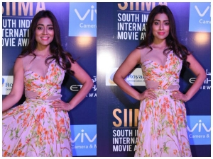 Shriya Saran Wore Maxi Gown At Siima 2017 Press Meet