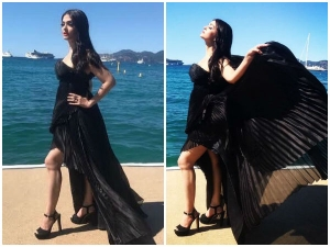 Cannes 2017 Aishwarya Rai Bachchan Looks Black Swan Beautiful Off Shoulder Black Dress