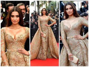 Sonam Kapoor Shimmers In A Golden Elie Saab Couture At Cannes