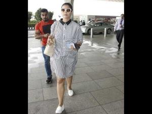 Twinning Stripes Katrina Kajol S Weekend Airport Styles