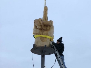Frustrated Man Built 4000 Dollar Cost Middle Finger Statue