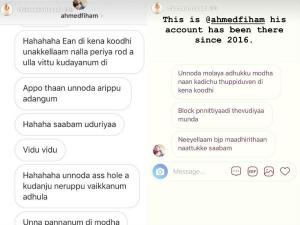 Man Threatens Singer Chinmayi A Vulgar Way Through Instagram