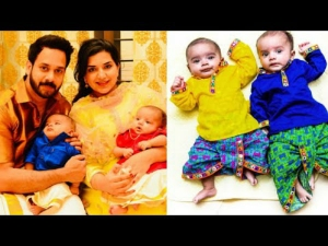 Tamil Celebrities And Their Twin Babies Photos