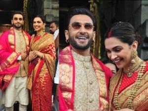 Deepika Padukone Wears A Bridal Sabyasachi Sari On Her First Anniversary