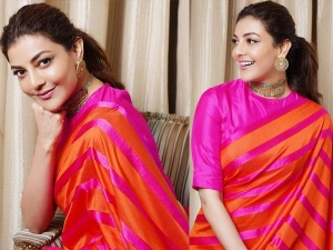 Kajal Agarwal In Her Pink And Orange Silk Saree
