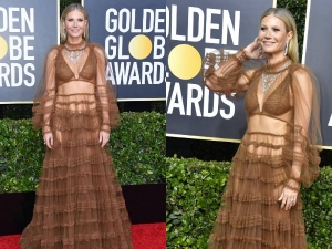 Gwyneth Paltrow Shows Skin In See Through Dress At Golden Globes