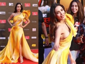 Malaika Arora Looked Gorgeous In A Yellow One Shoulder Thigh High Slit Gown