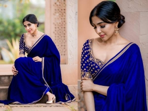 Parvati Nair Looks Gorgeous In A Royal Blue Saree