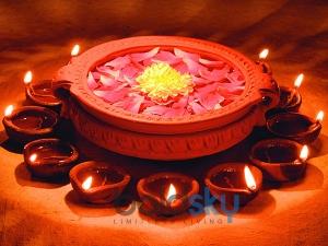 Colourful Diyas Diwali Decoration