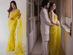 Kajal Aggarwal Looks Gorgeous In Floral Yellow Saree