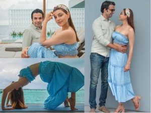 Kajal Aggarwal Looks Divine In Blue With Gautam Kitchlu At Her Honeymoon