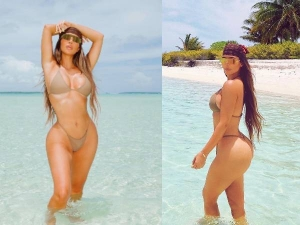 Kim Kardashian Flashes Her Famous Curves In Khaki Bikini