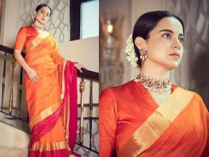 Kangana Ranaut Wore Orange Coloured Saree To Visit Puratchi Thalaivi Amma Dr J Jayalalitha Memorial
